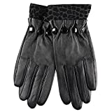 2015 New Sexy Women's Geniune Leather Gloves With leopard Bead Details