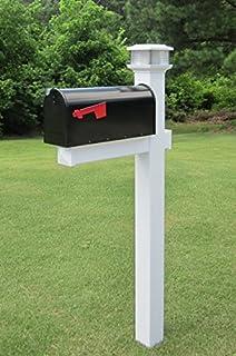 the galaxy solar light white vinyl pvc mailbox post includes mailbox