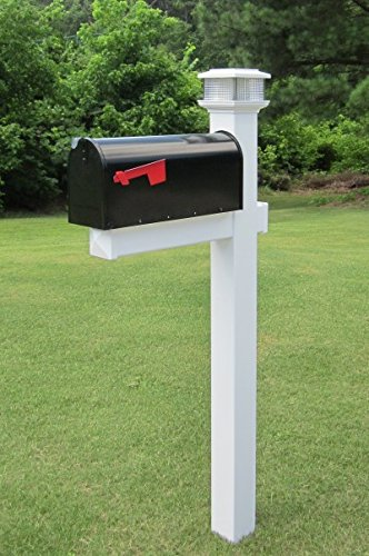mailbox post. The Galaxy Solar Light White Vinyl / PVC Mailbox Post (Includes Mailbox) E
