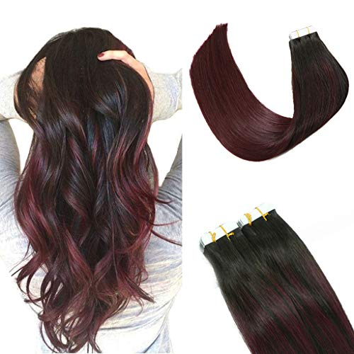 2019 Fashion Hair Color HUAYI Wine Red Ombre Natural Black Tape In Hair Extensions Human Hair 50g 20Pcs Soft Thick End Tangle Free Tape Durable Silky Straight Hair Extensions Balayage Hair(1B99#16