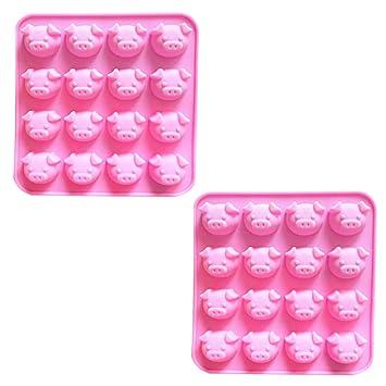 BESTONZON 2 moldes de Silicona para Chocolate con Forma de Cerdito de Dibujos Animados para Tartas