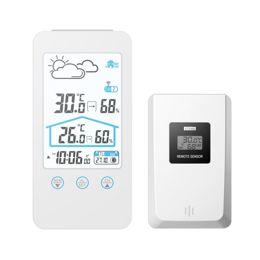 GAOAG Digital Wireless Hygrometer - Touch Screen Thermometer Wireless Temperature Indoor Outdoor Temperature Hygrometer with LED Backlight (White)