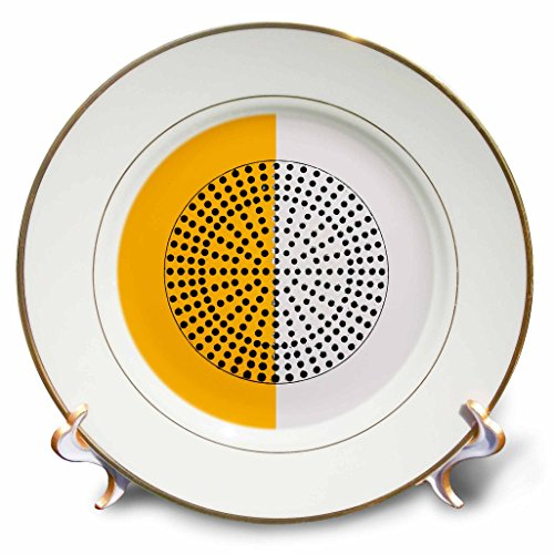 3dRose Alexis Photography - Abstracts - Image of metal perforated circle. Black hole. Yellow, white colors - 8 inch Porcelain Plate (cp_283991_1)