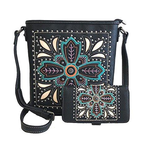 - American Bling Concealed Gun Messenger Purse Wallet Set Embroidered Flower Black