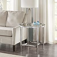 Madison Park Signature Triton Round End Table Silver See below
