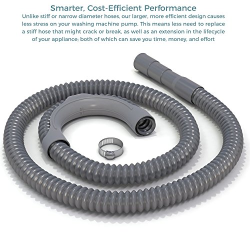 6' Wash (Premium Replacement Washing Machine Drain Hose (6 Feet) Heavy-Duty Water Support | Flexible, Corrugated Design | Quick & Easy Installation | Incl. Steel Clamp)