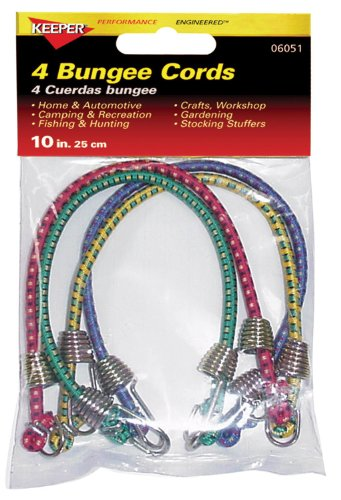 "Keeper 06051 10"" Mini Bungee Cord, 4 Pack"