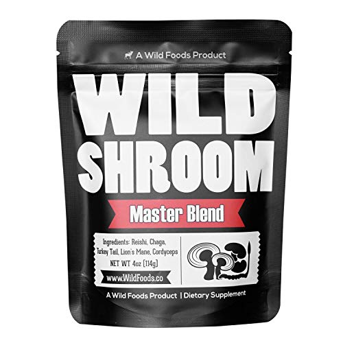 Wild Mushroom Extract Blend, Reishi, Chaga, Cordyceps, Turkey Tail, Lion's Mane Supplement for Smoothies, Shakes, Coffee | Small-Batch Nootropic Mental Performance (Master Blend 8 oz)