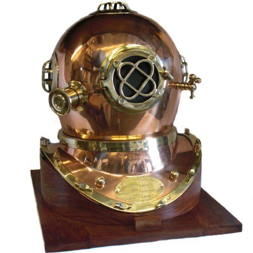 Navy Diver Helmet - Full-Size U.S. Navy Mark V Copper & Brass Diving Helmet Replica with Wooden Base