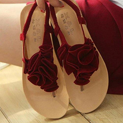 Ouneed® Flip Flops Damen Erwachsene Zehentrenner , Summer Bohemia Sweet Sandals Clip Toe Sandals Beach Shoes Rot