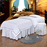 O'FIVEST Massage Table Sheet Sets, Pure Color, 4 Pieces, Bedspread with Face Rest Hole, Customizable (White)