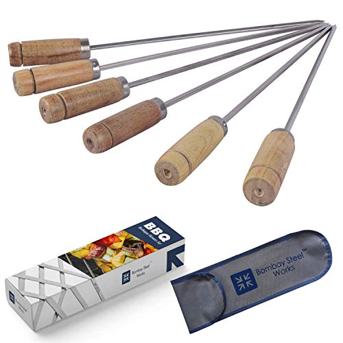 Bombay Steel Works Stainless Steel Square Barbeque Skewers | 13 Inch, Set of 6 | BBQ Skewers Set, Reusable BBQ Sticks, Metal Grilling Skewers (Wooden Handle (with Pouch))