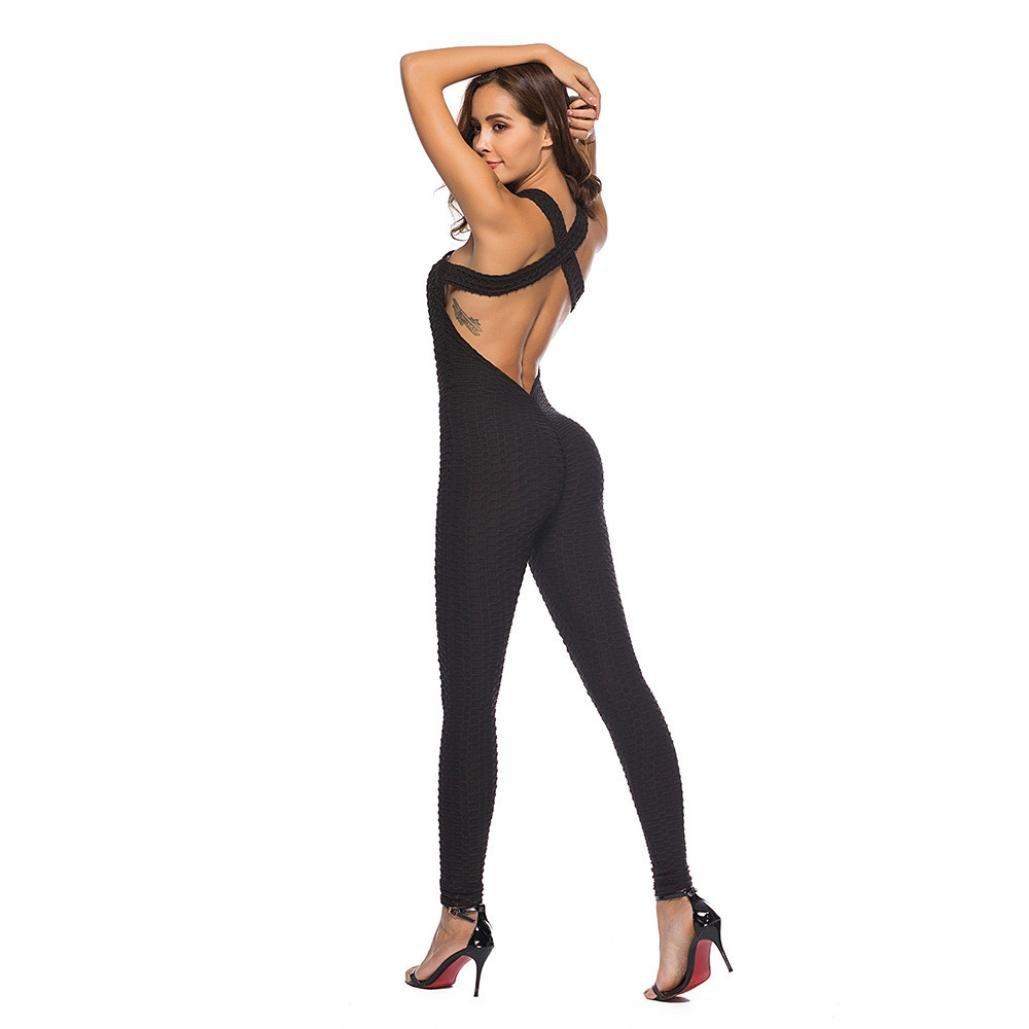 KOLY Tuta da Donna Yoga Sportiva monoblocco Running Fitness Pantaloni Stretti Palestra Allenamento Donna Casuale Elegante Pizzo Girocollo Senza Maniche Jumpsuit Playsuit