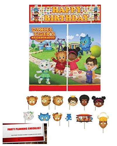 Daniel Tiger's Neighborhood Scene Setter Backdrop With Glitter Photo Booth Props (Plus Party Planning Checklist by Mikes Super Store)