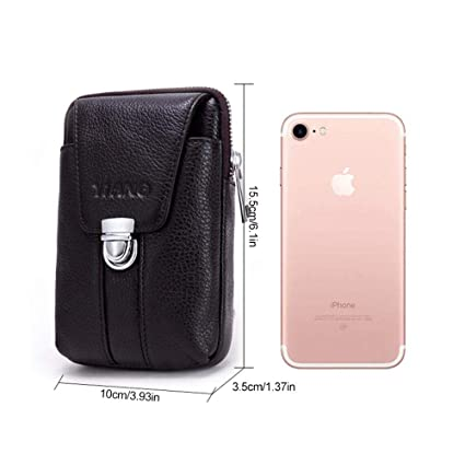 0c8b7d3c1e Umiwe Vertical Genuine Leather Belt Bag, Mens Leather Mobile Phone Pocket  Multifunctional Phone Bag Small