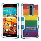DuroCase LG Volt 2 LS751 Boost Mobile / LG Magna H500 (Released in 2015) Fashion Kickstand Case White & Mint - (Rainbow Flag)