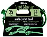 Yard Master Outdoor Extension Cord with Evenly-Spaced Plugs And 3 Outlets, (25 Ft, Green)