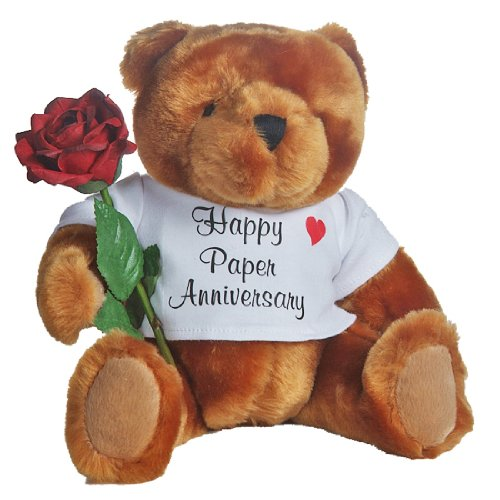 First Anniversary Gift (Happy 1st Wedding Anniversary Teddy Bear with Paper Rose Gift)