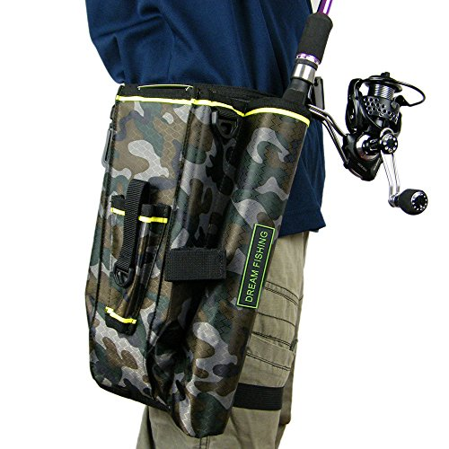 QualyQualy Fly Fishing Rod Bag With Fishing Tackle Storage Box Cover Case Multi-function Nylon Fishing Waist Pack Leg Bag Camouflage Camo (Best Fly Fishing Waist Pack)