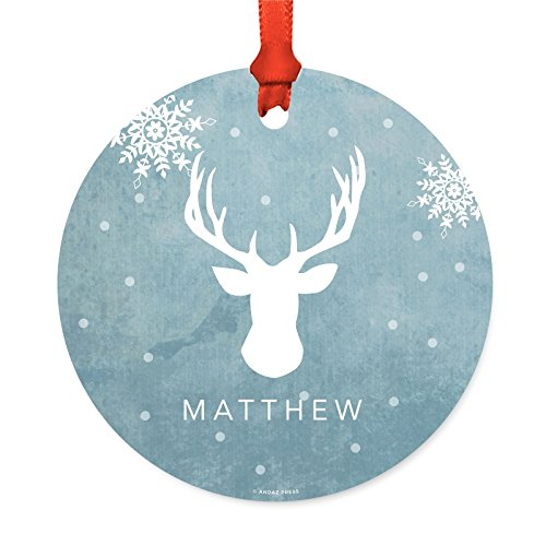 Andaz Press Personalized Family Christmas Ornament, Metal, Blue Winter Wonderland Buck Deer Head with Antlers, 1-Pack, Custom, Includes Ribbon and Gift Bag