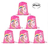 Cheap Drawstring Bags Favors for Kids Unicorn Design Backpack Rucksack Shoulder Bags Gym Bag, Arts & Crafts Activity 6 Pack (Cartoon, Animals)13.8″x10.6″ Birthday Party packs (Dark Pink)