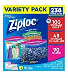 ziploc half gallon bags - Ziploc Bags Variety Pack Multiple sizes for all uses - 238 Count