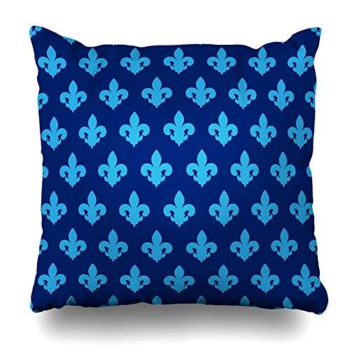 Ahawoso Throw Pillow Cover Pattern Green Abstract Blue Lily Fleur De Emblem Lis Billboard Broadsheet LYS Flora Design Retro Home Decor Pillowcase Square Size 20