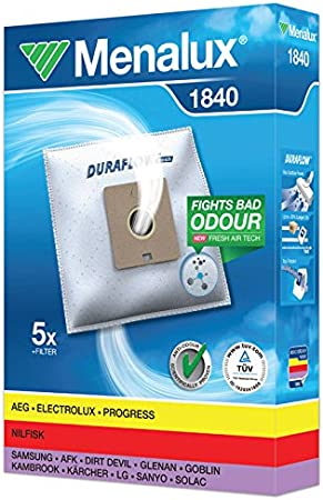 Menalux 1840 Pack con 5 Bolsas y 1 Filtro para aspiradores AEG, Dirt Devil, LG, Nilfisk, Privileg y Samsung, Papel, Blanco: Amazon.es: Hogar