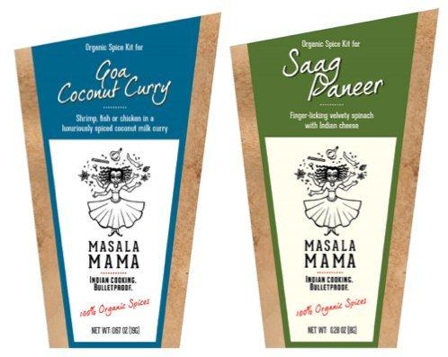 Gourmet Organic Indian Spice Kit Gift Set - Masala Mama - Goa Coconut Curry & Saag Paneer - 1.8oz SET - 1 Kit Serves 4 People - SET OF 2 SPICE KITS