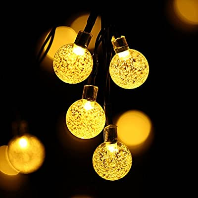 Lumitify Globe Solar String Lights, 19.7ft 30 LED Fairy Crystal Ball Lights, Outdoor Decorative Solar Lights for Christmas Home, Garden, Patio, Lawn, Party and Holiday(Warm White) ¡­