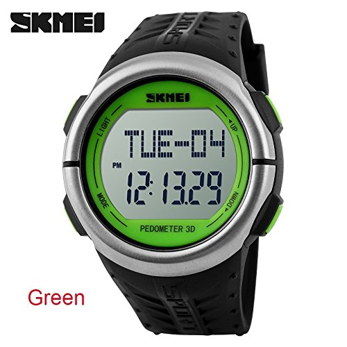 8 In 1 Outdoor Sports Digital Waterproof Watch Heart Pulse Rate Monitor Calorie Counter Fitness Man Woman Clock Pedometer + Gift Box - Green ()
