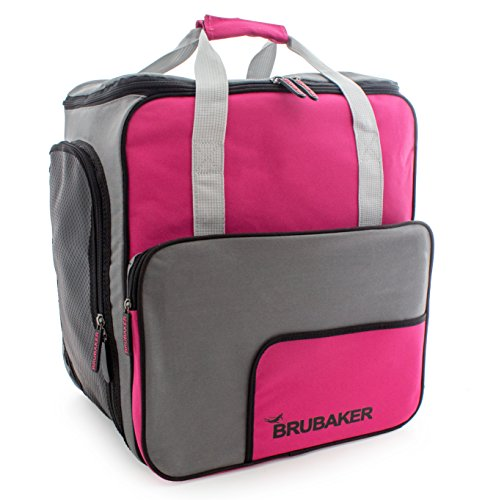 BRUBAKER Practical Ski Boot Winter Sports Bag Backpack Super Function - Limited Edition - Dark Pink Grey by BRUBAKER