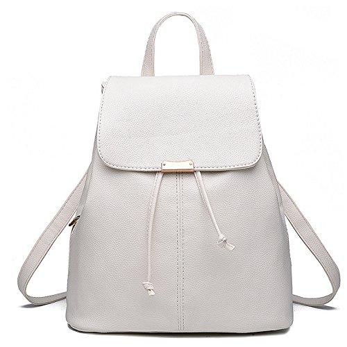 (JVP1042-P) Las mujeres mochila de cuero de LA PU bolsa de gran capacidad de viaje de regreso las mujeres 3way espalda hombro bolso de mano simple de moda popular luz de la escuela suburbana Blanco, Blanca