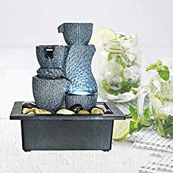 """Chillscreamni Resin Tabletop Fountain - Good Size 11"""" H Tabletop Indoor Fountain for Tabletop Decoration, Enjoy The Fantistic LED Lights and Soothing Relaxation Water Feature"""