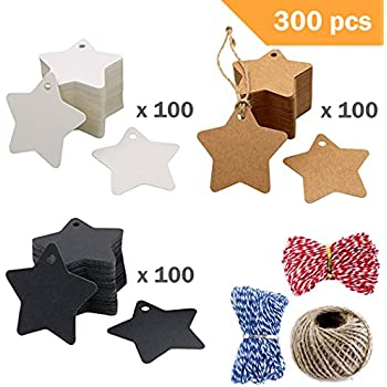 0b75787a6dc1 300 Pcs Star Kraft Paper Gift Tags & Blank Gift Tag - 3 Colors DIY Blessing  Cards Greeting Card Wedding...