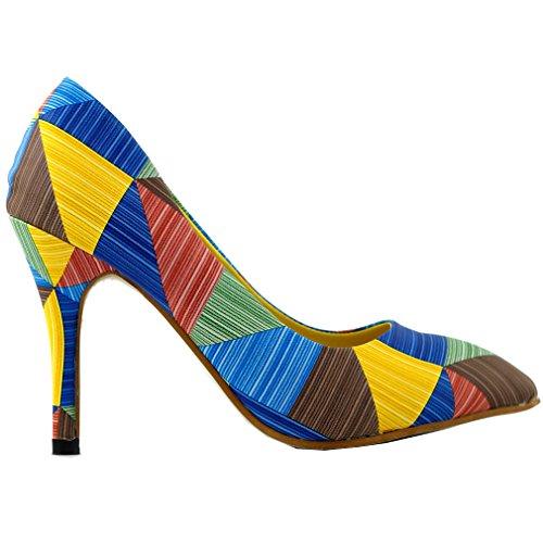 Pointy Blue Print Pump Triangles Stiletto LF60603 Toe Multicoloured Heel Story High Show tqwPII