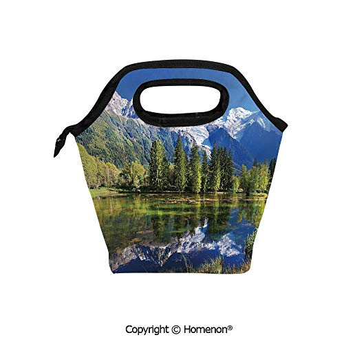 Insulated Neoprene Soft Lunch Bag Tote Handbag lunchbox,3d prited with Snowy Mountains Evergreen Spruce Reflected in Lake City Park Chamonix France,For School work Office Kids Lunch Box & Food Contain