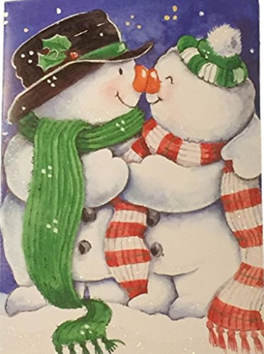 Snowgirl Snowman - Holiday Boxed Christmas Cards Set of 14 - Variety to Choose From (Kissing Snowman & Snowgirl)