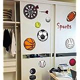 BIBITIME DIY Nursery Baby Room Sport Wall Decal Basketball Soccer Tennis Volleyball Rugby Football Black 8 Billiards Darts Art Sticker for Kids Room Decor