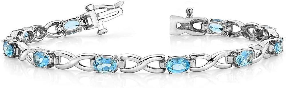Details about  /6Ct Oval London Blue Topaz /& CZ Womens Tennis Bracelets 14K White Gold FN Silver