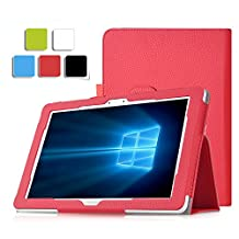 Tab Pro S 12 case, KuGi Samsung Tab Pro S 12 case - Multi-Angle Stand Slim-Book PU Leather Cover Case for Samsung Galaxy Tab Pro S 12 inch tablet (Red)