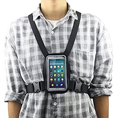 Smartphone Outdoor Chest Strap Mount + Waterproof Case Holder Compatible with All Mobile Phones - Your Smartphone is Now a Gopro POV Action Camera