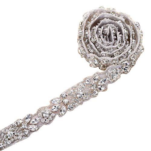 Rhinestone Wedding Belt Bridal Applique, Wedding Sash Belt, Rhinestone Sash, Bridal Belts and Sashes Beaded Embellishments for Women Formal Dresses Sewn or Hot Fix - Silver (Sliver-1)