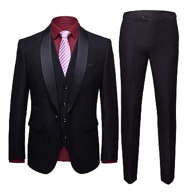 1d4303b83044 WEEN CHARM Men's Shawl Lapel 3-Pieces Suit Slim Fit One Button Dress Suit  Blazer