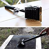 Barbecue Grill Brush With Copper Wire Bristles Safe For Porcelain & Cast Iron Grates And Long Handle To Protect