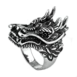 MoAndy Men Stainless Steel Vintage Retro Silver Dragon Ring 6MM Size 10