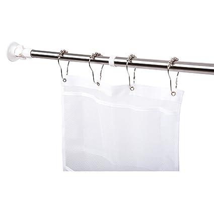 MoYo Constant Tension Bathroom Shower Curtain Rod Silver Heavy Duty Non