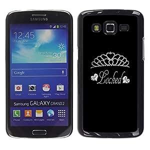 Be Good Phone Accessory // Dura Cáscara cubierta Protectora Caso Carcasa Funda de Protección para Samsung Galaxy Grand 2 SM-G7102 SM-G7105 // Tiara Diamond Locked Silver Glitter