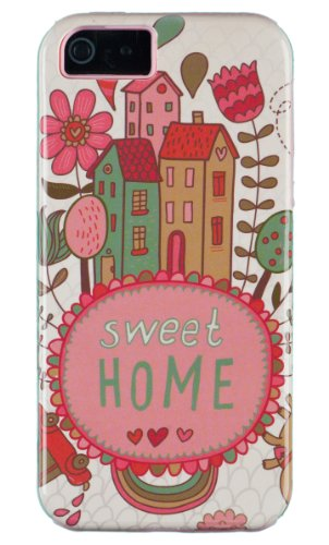 DandyCase 2in1 Hybrid High Impact Hard Home Sweet Home Pattern + Pink Silicone Case Cover For Apple iPhone 5S & iPhone 5 (not 5C) + DandyCase Screen Cleaner