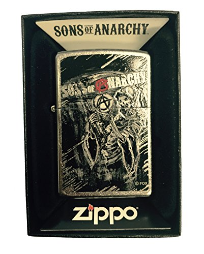 Zippo Custom Lighter - Samcro Sons of Anarchy with Anarchy Reaper - Regular Street Chrome Zippo Chrome Ring